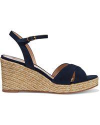 Stuart Weitzman Rosemarie Suede Espadrille Wedge Sandals - Blue