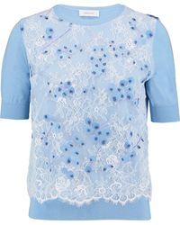 Carven Corded Lace-paneled Wool Sweater - Blue