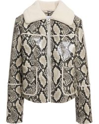 Stand Studio May Faux Fur-trimmed Faux Snake-effect Leather Jacket Animal Print - Black