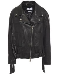 7 For All Mankind 7 For All Kind Coulisse Gathered Textured-leather Jacket Black