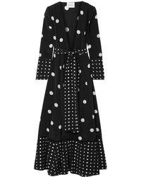 We Are Leone Polka-dot Silk Crepe De Chine Robe - Black