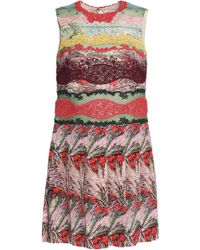 Valentino - Lace-paneled Printed Silk Crepe De Chine Mini Dress - Lyst