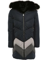 Perfect Moment Faux Fur-trimmed Striped Shell Hooded Down Jacket Black