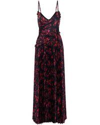 ML Monique Lhuillier Wrap-effect Pleated Floral-print Satin Maxi Slip Dress - Black