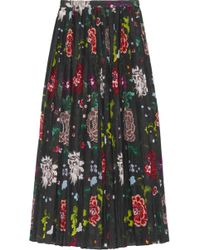 Adam Lippes - Pleated Floral-print Voile Wrap Skirt - Lyst