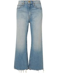 The Great The Rider Cropped Frayed High-rise Wide-leg Jeans Light Denim - Blue