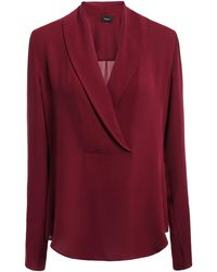 Theory Silk Crepe De Chine Blouse Merlot - Red