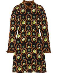 Temperley London Rosella Ruffled Printed Stretch-jersey Mini Dress - Black