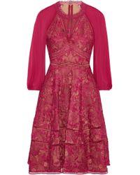 Marchesa notte - Cutout Chiffon-paneled Guipure Lace Dress - Lyst