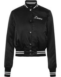 Amiri Lovers Silk Satin Baseball Jacket - Black