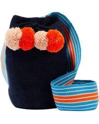 Sophie Anderson Lulu Pompom-embellished Woven Bucket Bag - Blue