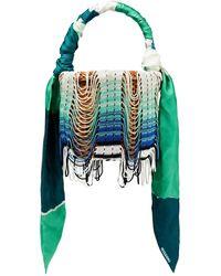 Missoni Fringed Crochet-trimmed Woven Straw Bucket Bag - Green