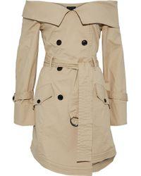 Marissa Webb - Ellen Off-the-shoulder Woven Cotton-blend Trench Coat - Lyst
