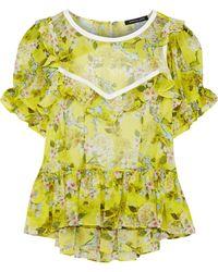 Marissa Webb - Kinley Open-back Floral-print Silk-georgette Blouse - Lyst