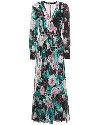 Diane von Furstenberg Wrap-effect Ruffle-trimmed Floral-print Silk-georgette Maxi Dress Black