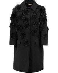 Michael Kors - Appliqued Cotton And Linen-blend Coat - Lyst