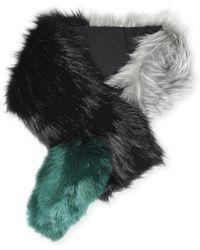 Charlotte Simone Popsicle Striped Faux Fur Scarf - Black