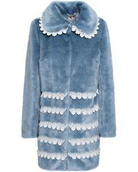 Shrimps Lace-trimmed Faux Fur Coat Blue