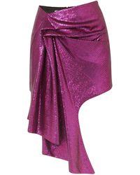 Halpern Asymmetric Sequined Tulle Mini Skirt Violet - Purple