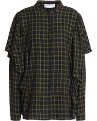 Robert Rodriguez - Ruffle-trimmed Checked Cotton-flannel Shirt - Lyst