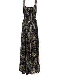 Mikael Aghal Floral-print Crepe De Chine And Georgette Gown Black
