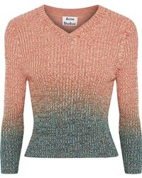 Acne Studios - Riva Degradé Ribbed Cotton-blend Sweater - Lyst