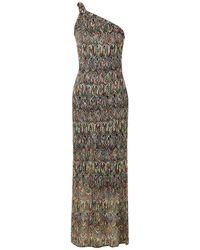 Missoni One-shoulder Crochet-knit Maxi Dress Multicolor - Black