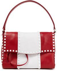 Valentino Garavani - Rockstud Two-tone Leather Shoulder Bag - Lyst