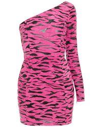 Moschino Minikleid Aus Veloursleder Mit Tigerprint Und Asymmetrischer Schulterpartie - Mehrfarbig