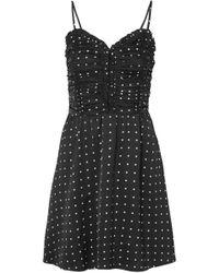 Maje - Woman Polka-dot Ruched Satin Mini Dress Black - Lyst