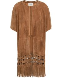 Yves Salomon - Woman Noisette Embellished Cutout Fringed Suede Jacket Light Brown - Lyst