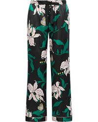 Morgan Lane Chantal Floral-print Charmeuse Pajama Pants Black