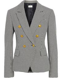 A.L.C. Alton Double-breasted Houndstooth Cotton-blend Blazer Black