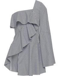 Goen.J One-shoulder Ruffled Striped Cotton-poplin Top Black