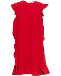 RED Valentino - Ruffled Crepe Mini Dress Red - Lyst