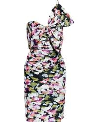 Badgley Mischka Bedrucktes kleid aus duchesse-satin mit schleife und asymmetrischer schulterpartie - Mehrfarbig