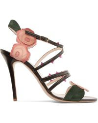 Camilla Elphick Coming Up Roses Embroidered Suede And Leather Sandals - Multicolour