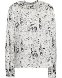 Shrimps Ruffle-trimmed Printed Silk-satin Shirt White