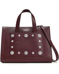 Versus Embellished Leather Shoulder Bag Burgundy - Purple