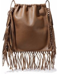 Valentino - Fringed Textured-leather Backpack Light Brown - Lyst