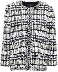 St. John Frayed Bouclé-tweed Jacket - Black