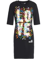 Love Moschino - Printed Stretch-cotton Jersey Mini Dress - Lyst