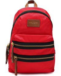 Marc Jacobs - Woman Leather-trimmed Printed Shell Backpack Red - Lyst