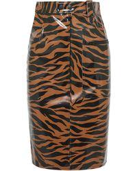 Kwaidan Editions Tiger-print Pu Pencil Skirt Animal Print - Multicolour