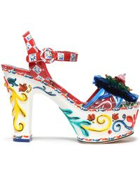 Dolce & Gabbana Woman Embellished Printed Patent-leather Platform Sandals Red