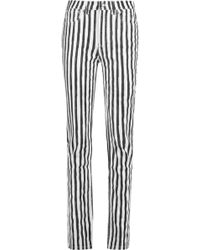 Marc By Marc Jacobs - Drainpipe High-rise Striped Slim-leg Jeans - Lyst