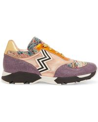 Missoni - Crochet-knit, Glittered And Metallic Leather-paneled Trainers - Lyst