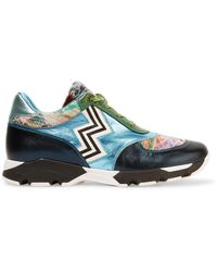 Missoni | Crochet-knit, Glittered And Metallic Leather-paneled Leather Trainers | Lyst
