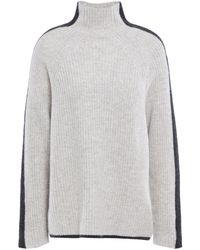 N.Peal Cashmere Striped Ribbed Cashmere Turtleneck Sweater Light Grey