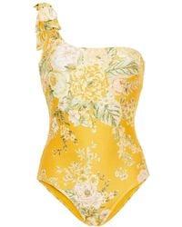 Zimmermann Badeanzug mit floralem print, asymmetrischer schulterpartie und verzierung - Gelb